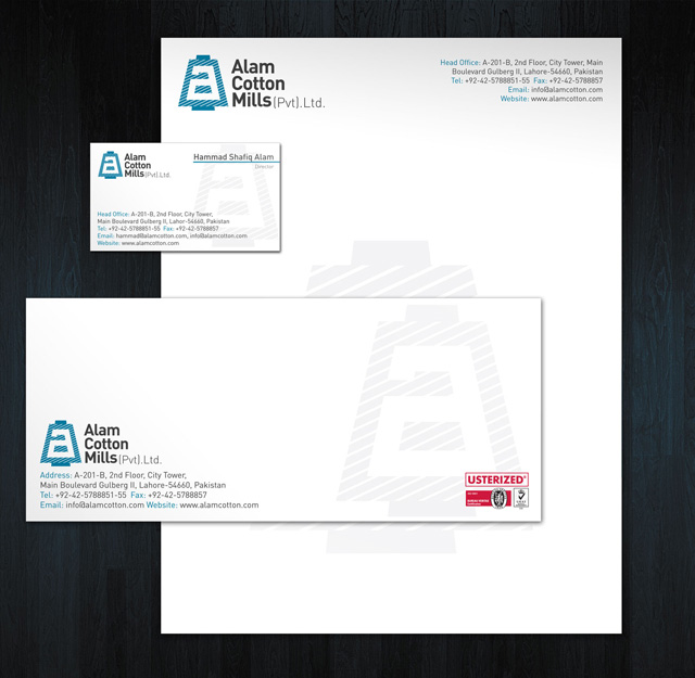 Alam Cottons Stationery Design