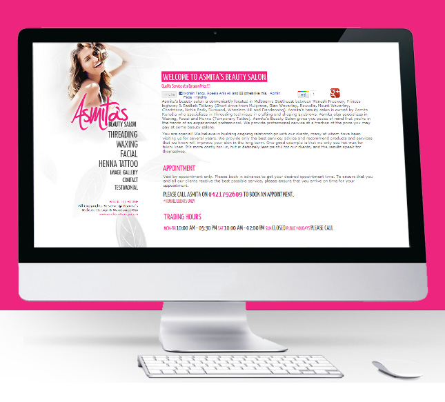 Asmita Beauty Salon Website Screen Shot
