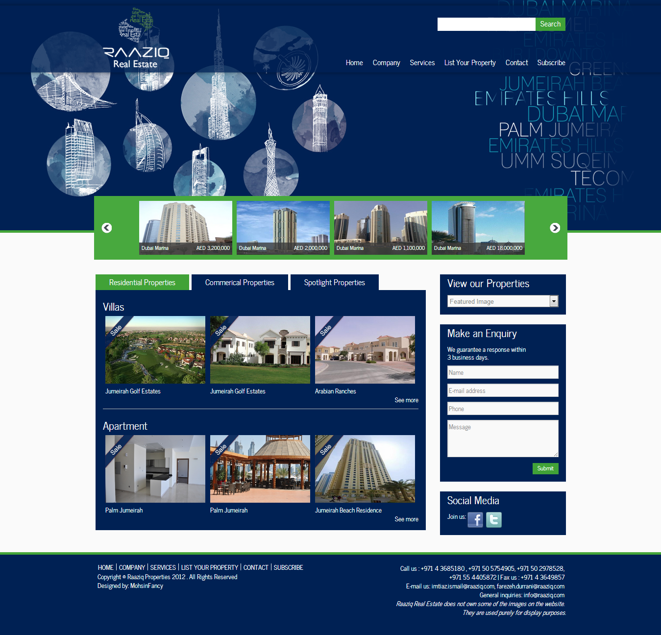 Raziq Properties Website Home Page