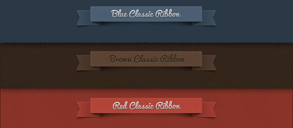 Free Classic Ribbon PSD Set
