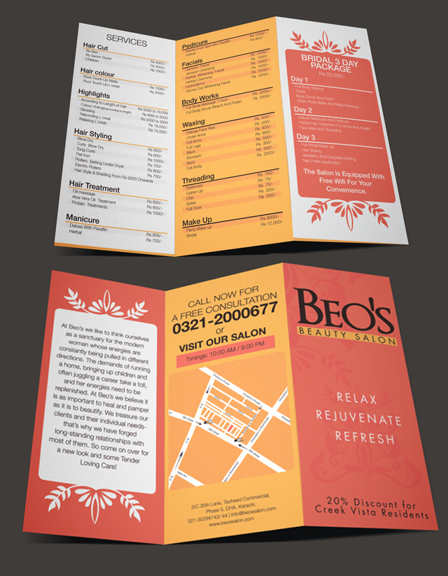Brochure Design, Price list Beo's Beauty Salon